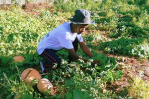 Siyabonga Tshabalala working in garden